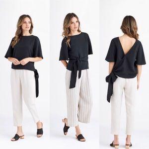 Black Vetta linen blend wrap top